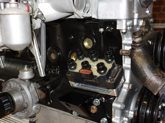 The coil pack trial fitted to the mounting bracket as it will have to be removed when the engine is installed