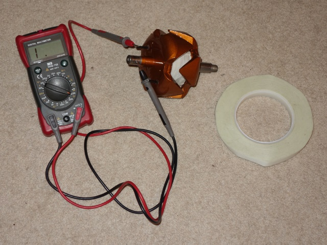 A multimeter confirmed the field winding has not shorted with the rotor body. The field winding resistance was also measured at 4.2 ohms