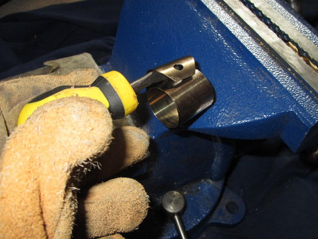 A screw driver was used to prise away the leaf end