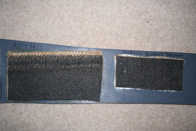 A comparative test was done to select the best method of bonding the trim to the Koolmat's cured silicone side