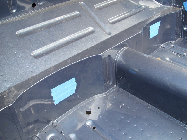 The areas to be drilled for the access holes were masked to stop