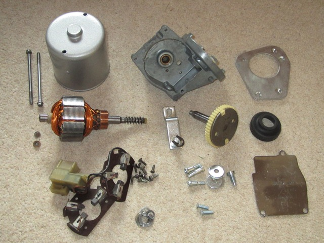 The wiper motor compentent ready for the rebuild, including the spare armature brushes unit