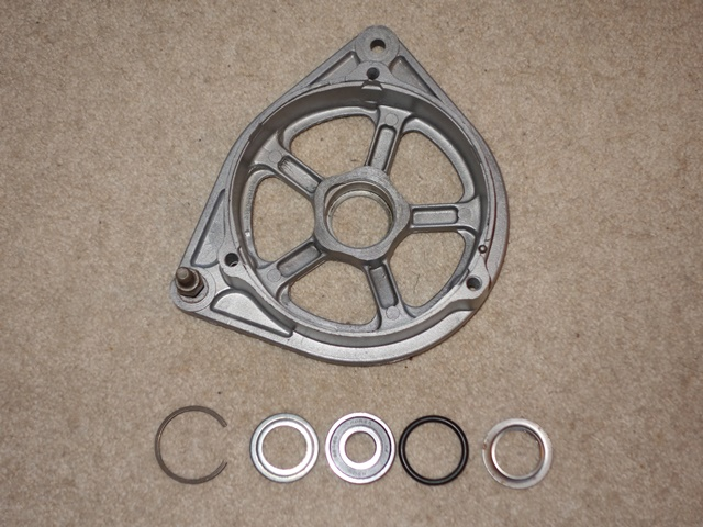 New bearing kits are available. A rubber 'O' ring sits between the front cover and the drive end housing. The rear cover is secured by a circlip