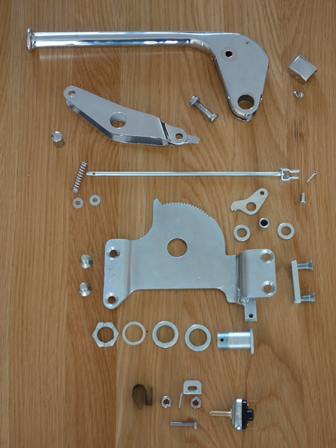 The re-plated handbrake component ready for assembly
