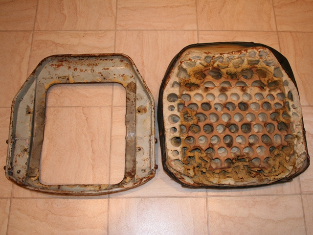 The seat foam was no longer bonded to the seat base so the seat foam and cover could just be lifted away from the frame