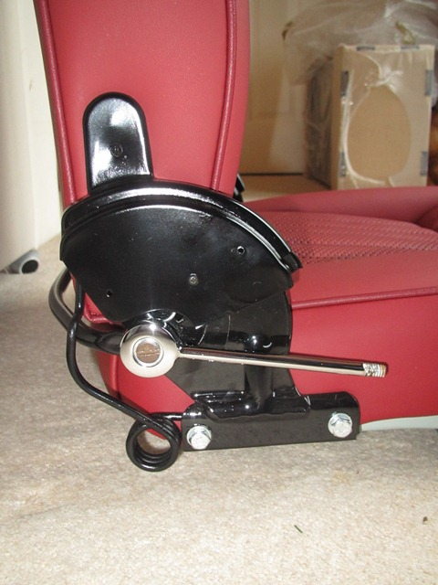 The reclining mechanism also has larger springs ro return the seat back to the upright position. I still need to source the bakelite knobs for the reclining levers